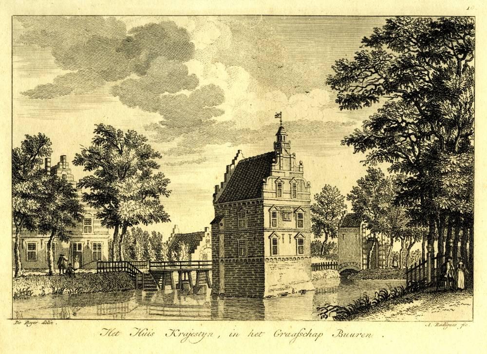 Huis Kraaienstein in Tricht. Tekening Jan de Beijer, gravure A. Radigues (Uit: Gezigten van voorname Hollandsche Dorpen,E.Maaskamp (?), ca. 1800)